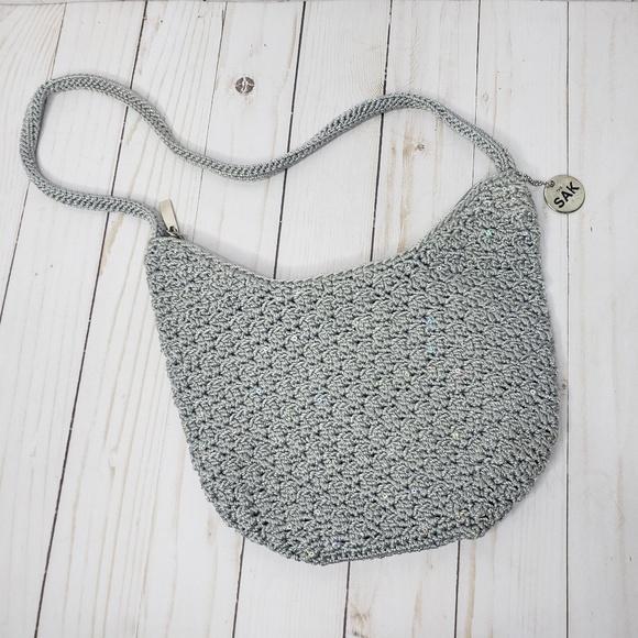 The Sak Handbags - The Sak Gray Silver Crocheted Mini Handbag